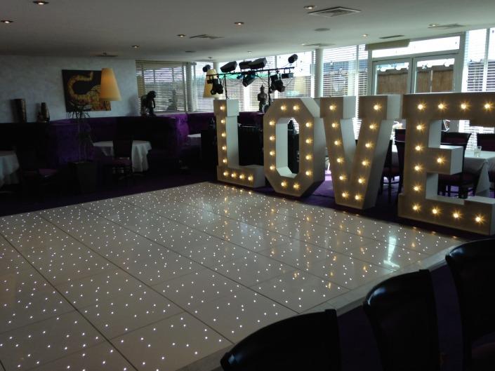 Kutis Royal Thai Pier Southampton LOVE letter hire and white LED Dancefloor Hire