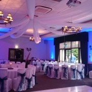 new place de vere wickham arden suite ceiling drapes led dancefloorand uplighter hire