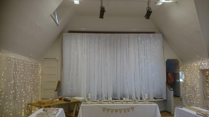 room draping village hall fairy lights backdrop