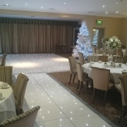 brookfields hotel emsworth winter wonderland white led dancefloor and aisle runner