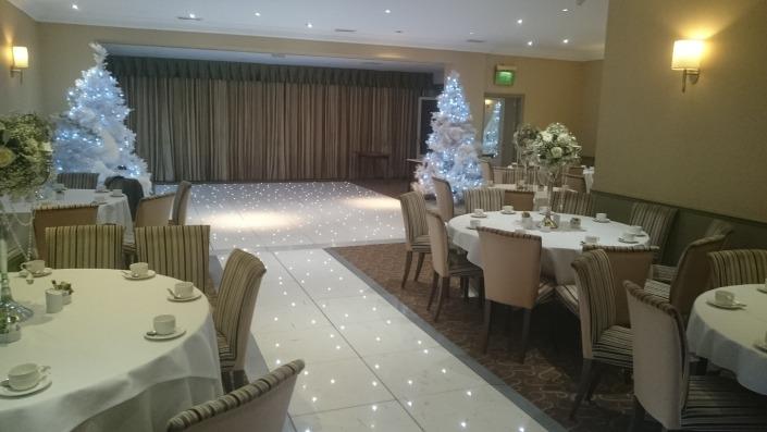 brookfields hotel emsworth winter wonderland white led dancefloor and aisle runner