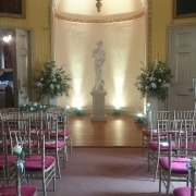 goodwood house uplighter aisle ceremony e1489931780869