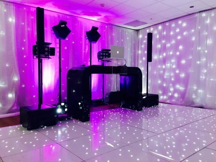 the port house port solent white LED dancefloor back drop and uplighters