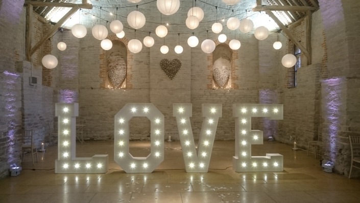 5ft LOVE and Paper Lanterns Tithe Barn