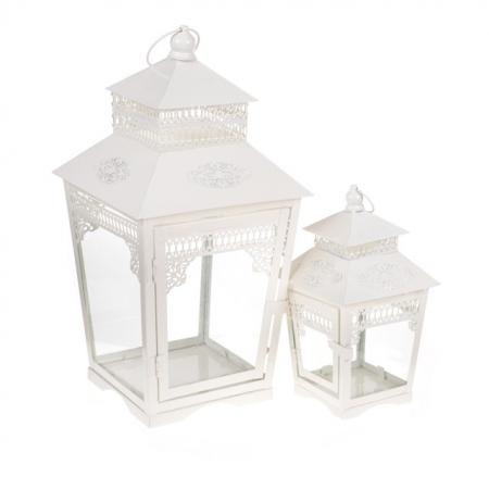 Lantern Vintage White Large 42x23 Small 25cm x 14cm