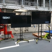 Setting up some of our 60 screens on the new HMS Queen Elizabeth aircraft carrier