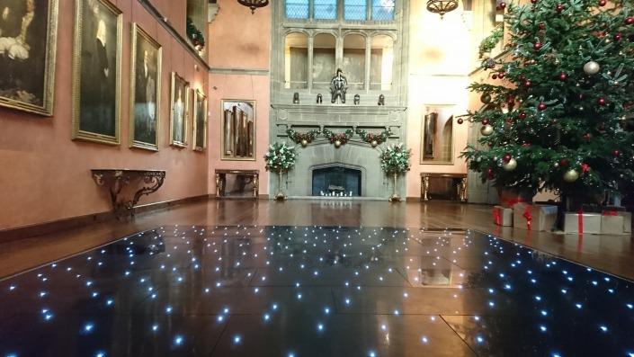 black led dancefloor in bucks hall at cowdray house at christmas