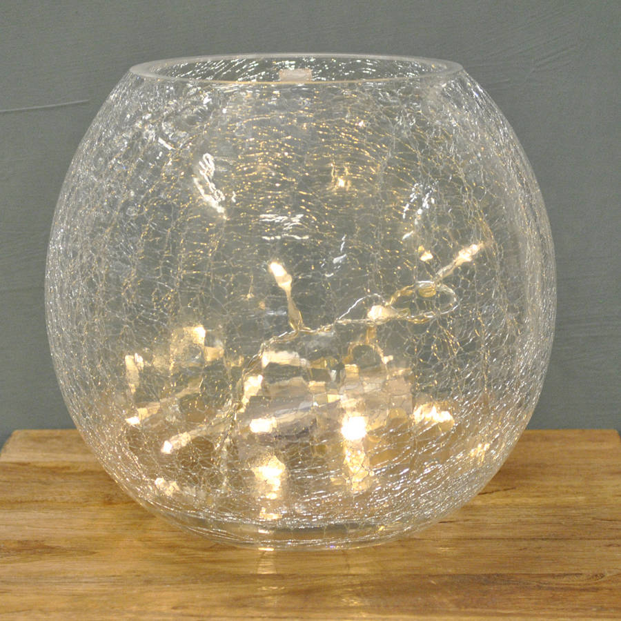 cracked glass vase with lights