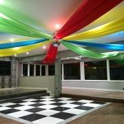 skylarks ceiling drapes and dancefloor wonka