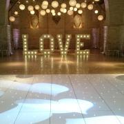 5ft LOVE White LED Dancefloor Paper Lanterns and Uplighters Tithe Barn