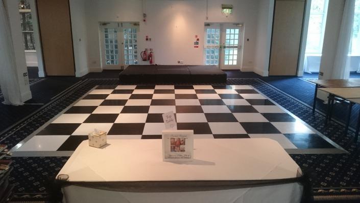 black and white dancefloor at botley grange hotel