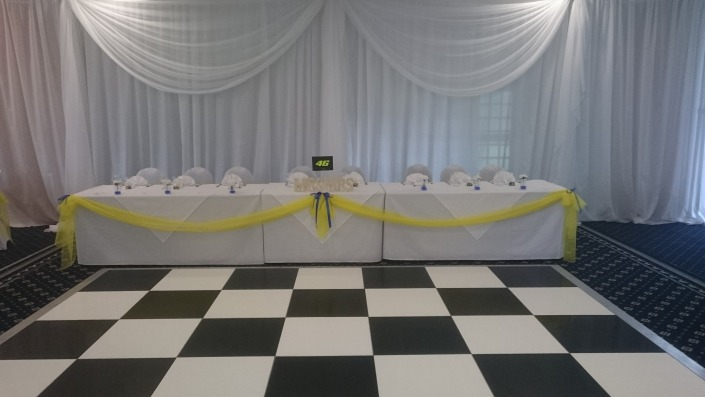 black and white dancefloorand backdrop at Botley Grange Hotel