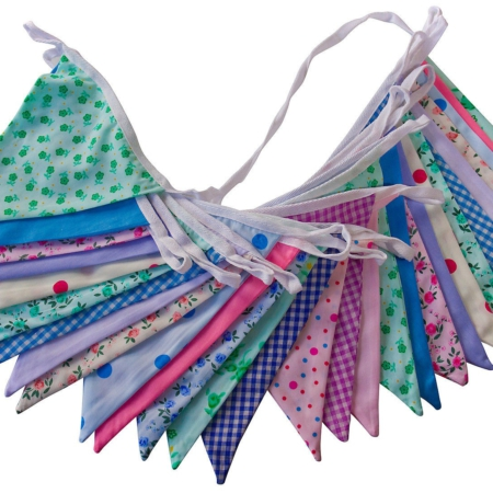 double sided bunting multi colour 10m lengths hire