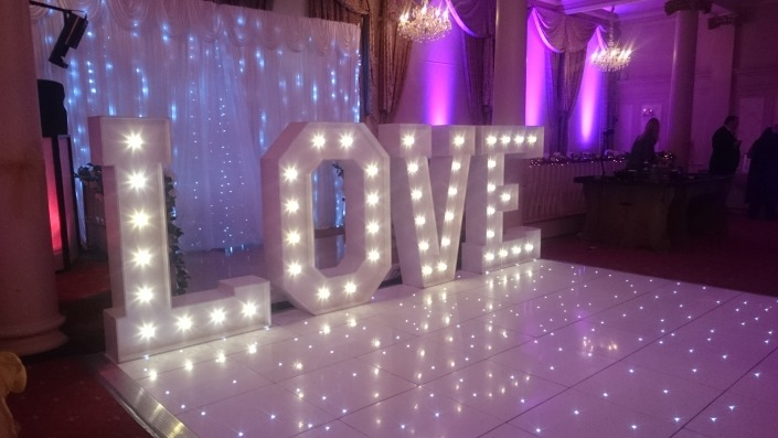 queens hotel 5ft love letters and white led dancefloor with purple uplighters