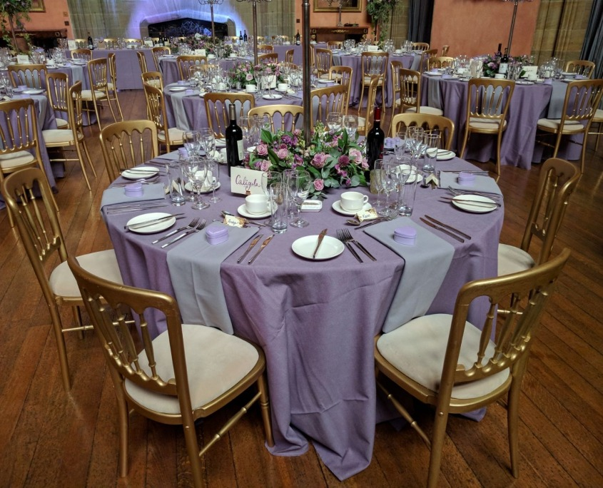 gold cheltnam chairs and 5ft round table at cowdray house