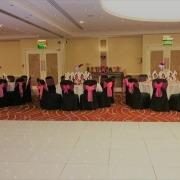 White LED Dancefloor Black Chair Cover Pink Sash Marriott Portsmouth