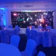 room drapes draping with blue uplighters and black starcloth at solent hotel and spa