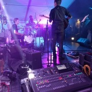 9m marquee end stage deck with sound lighting and band side of stage