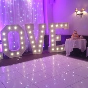 new place 5ft love white led dancefloor and backdrop drape