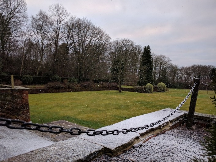 new place wickham snow machine on steps for wedding photoshoot