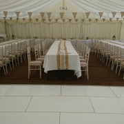 wickham park marquee trestle tables charvari chairs rustic hessian with white led dancefloor