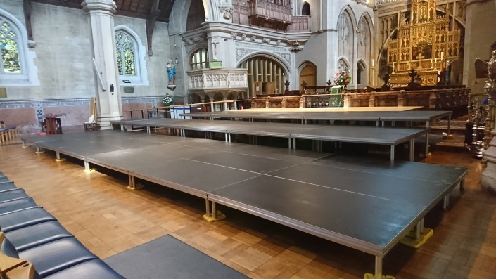 76m2 of tiered global stage deck at portsmouth st marys church
