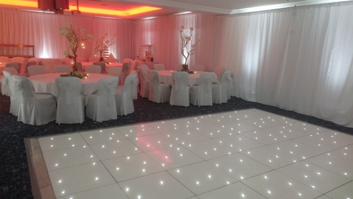 drapes led dancefloor and uplighters at solent hotel and spa