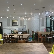 skylarks golf and country club festoon lighting and coloured furniture
