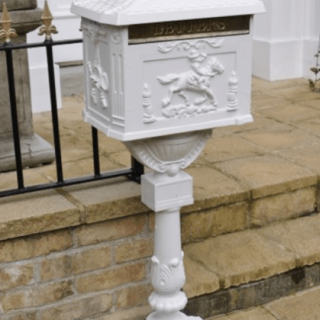 white floorstanding victorian postbox