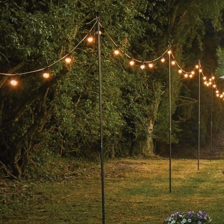 festoon lighting on poles