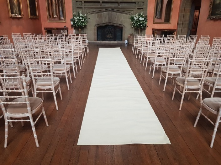cowdray house aisle runner and chiavari chairs for wedding ceremony