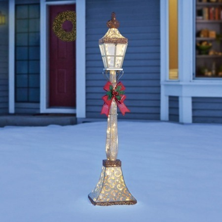 6ft 1.8m Christmas Street Lamp Bow with 120 LED Lights