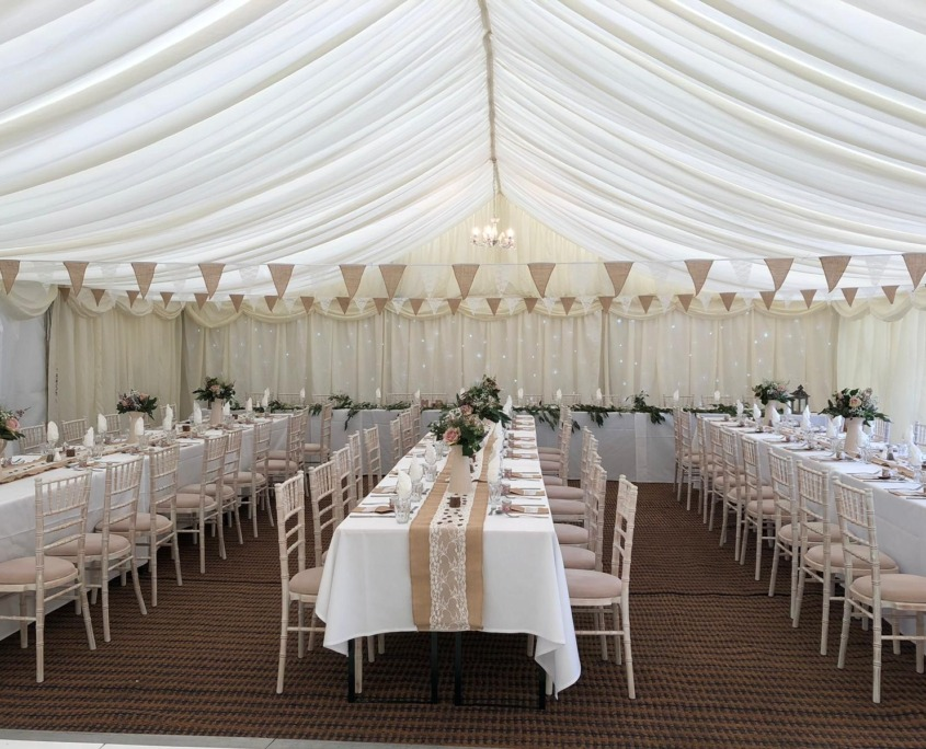 Wickham Park Marquee Bunting Chiavari Chairs Table Runners Coconut Matting Top Table