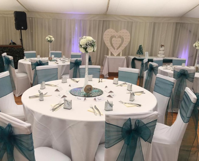 Southsea Castle Marquee Centrepieces Chair Covers Sashes